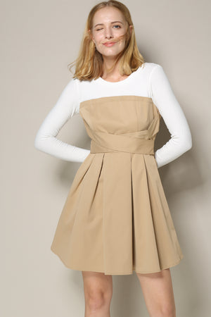 Khaki Dress With White Top