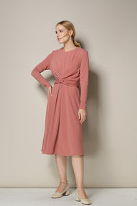 Long-Sleeved Coral Midi Dress