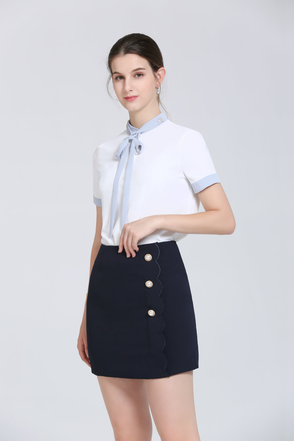 Navy Mini Skirt With Pearl Buttons