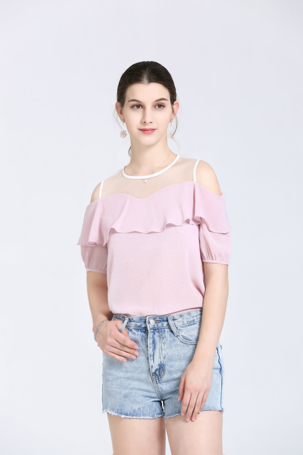 Light Pink Off-The-Shoulder Blouse