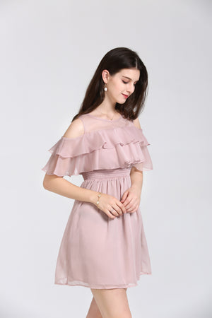 Baby Pink Dress With Ruffled Bodice