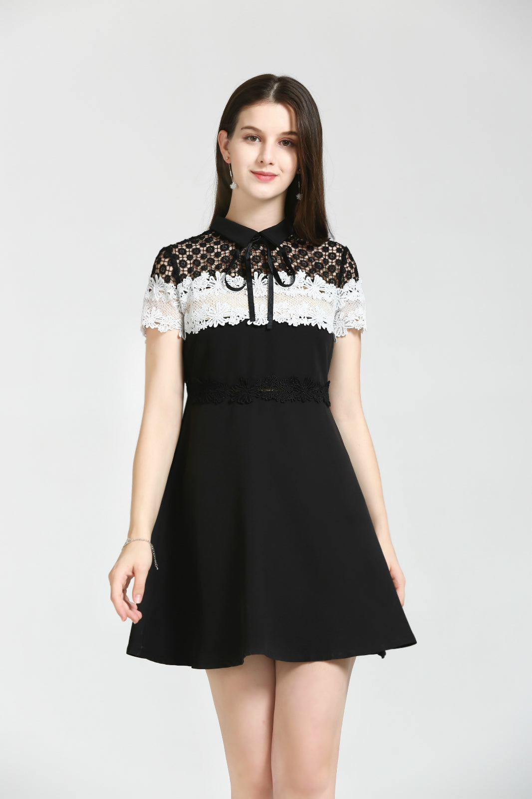 Black-And-White Dress With Lace Upper Bodice
