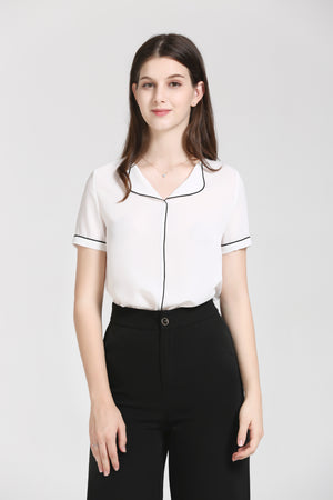 White Blouse With Black Piping