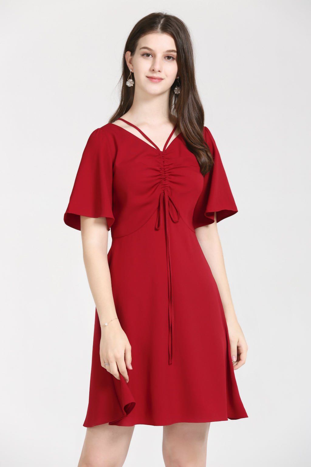 Red Dress With Flowy Sleeves