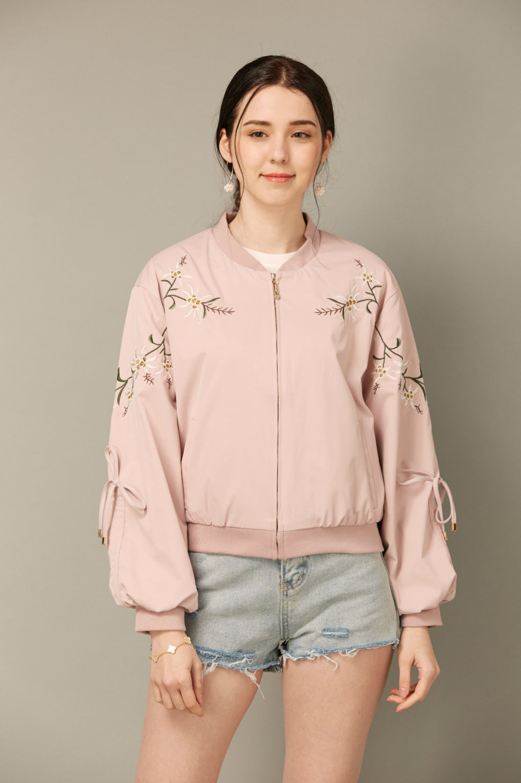 Light Pink Floral Bomber Jacket
