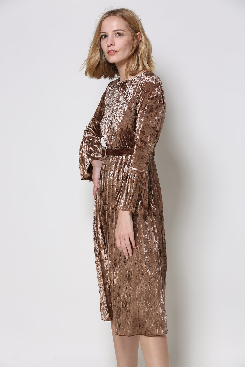 Brown Crushed Velvet Dress