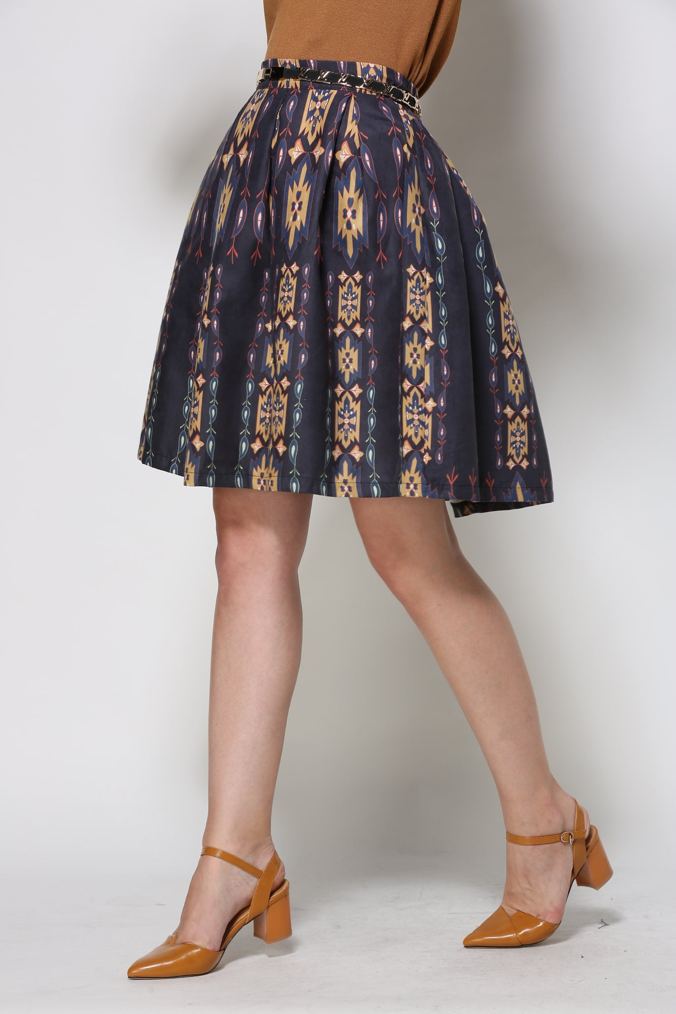 Navy Skirt With Southwestern Pattern