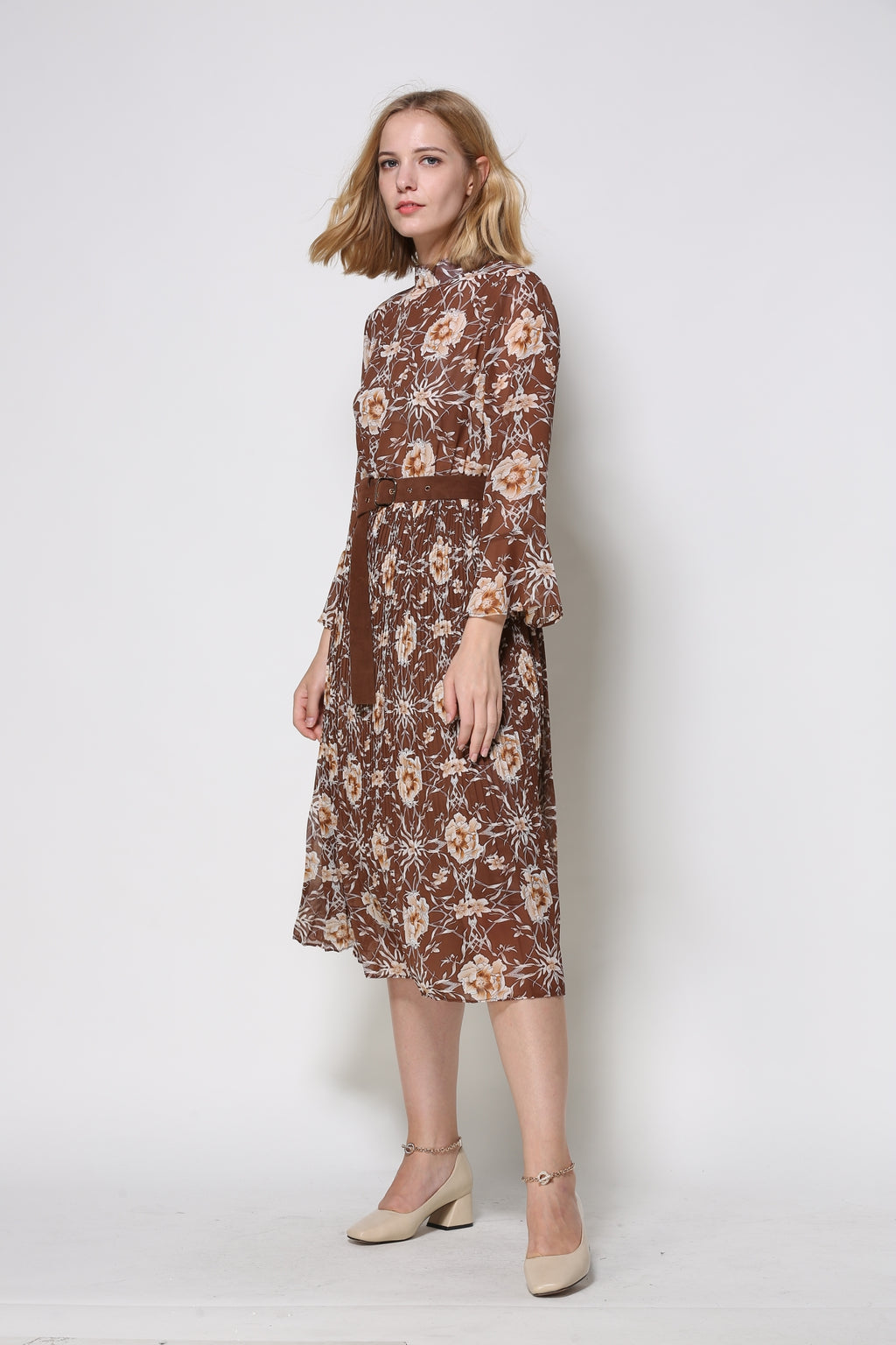 Brown Long-Sleeved Floral Midi Dress