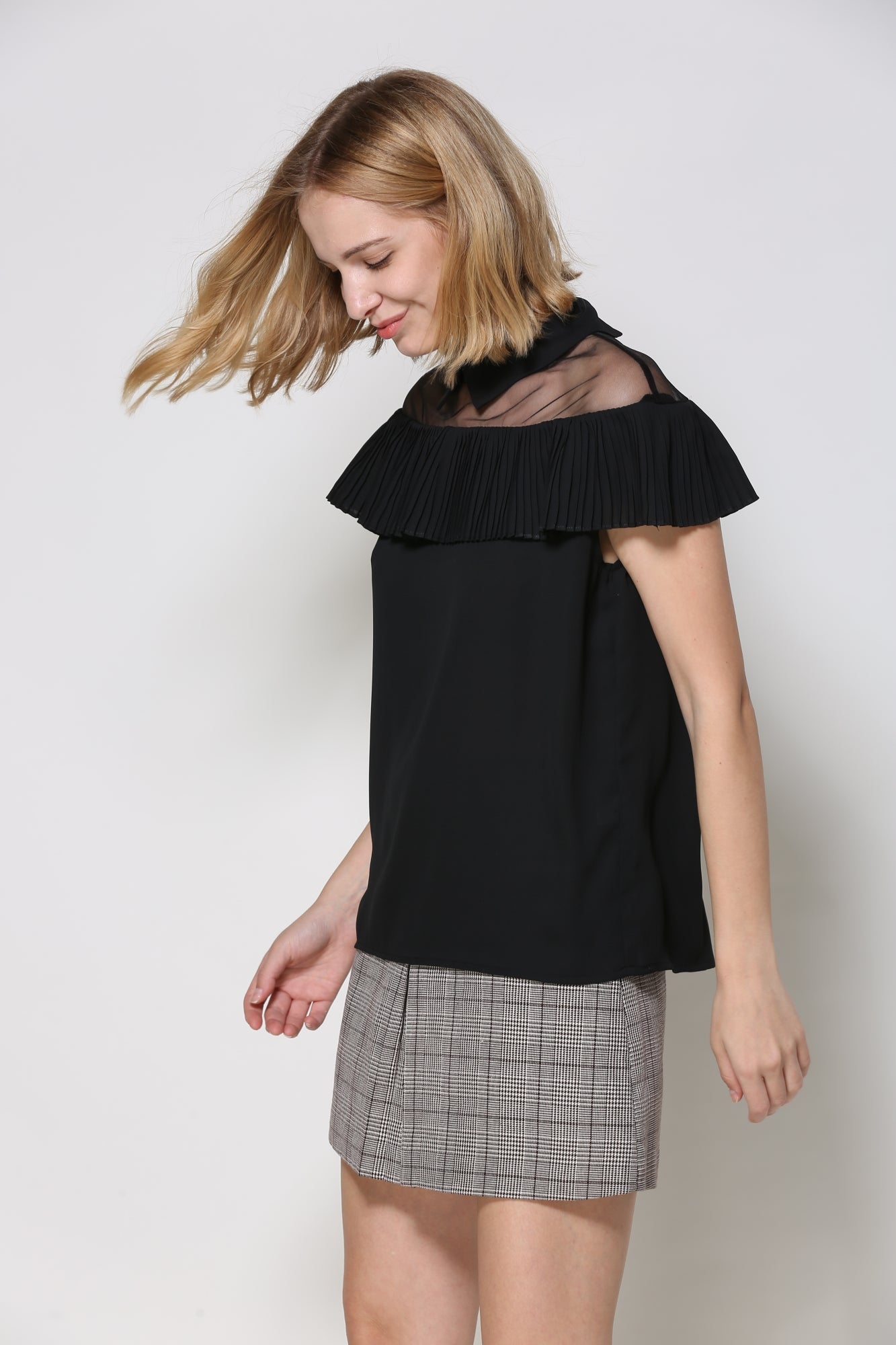 Off The Shoulder Illusion Black Ruffled Blouse