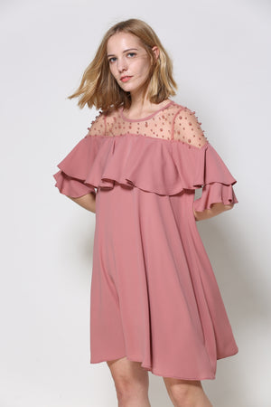 Rose-Colored Off-The-Shoulder Dress With A Flounce