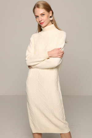 Cable-Knit Dress With High Collar