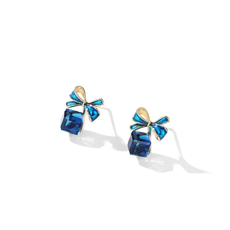 Sapphire Bow Stud Earrings