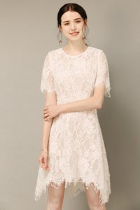 Irregular White Lace Dress