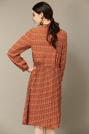 Burnt Orange Vintage-Style Dress