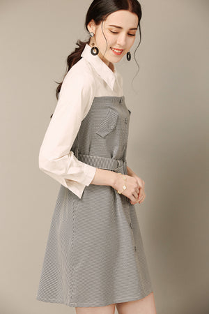 Belted Houndstooth Dress