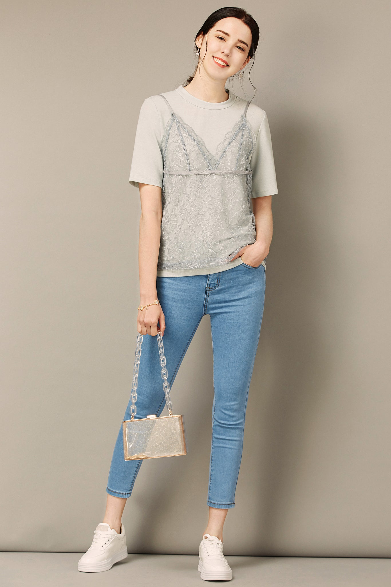 Light Blue Sheer Lace Camisole With Shirt