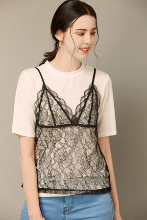 Black Lace Camisole With White Shirt