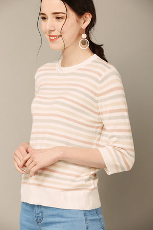 Striped 3/4-Sleeve Pullover Sweater