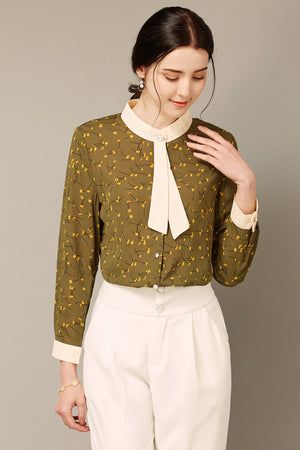 Olive Green Flower-Print Blouse