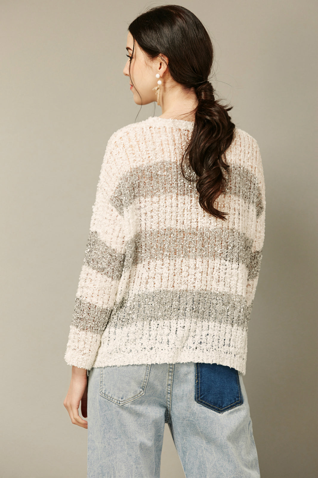 Grey and White Striped Pullover Sweater