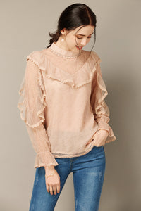 Rose Beige Lace Ruffle Top