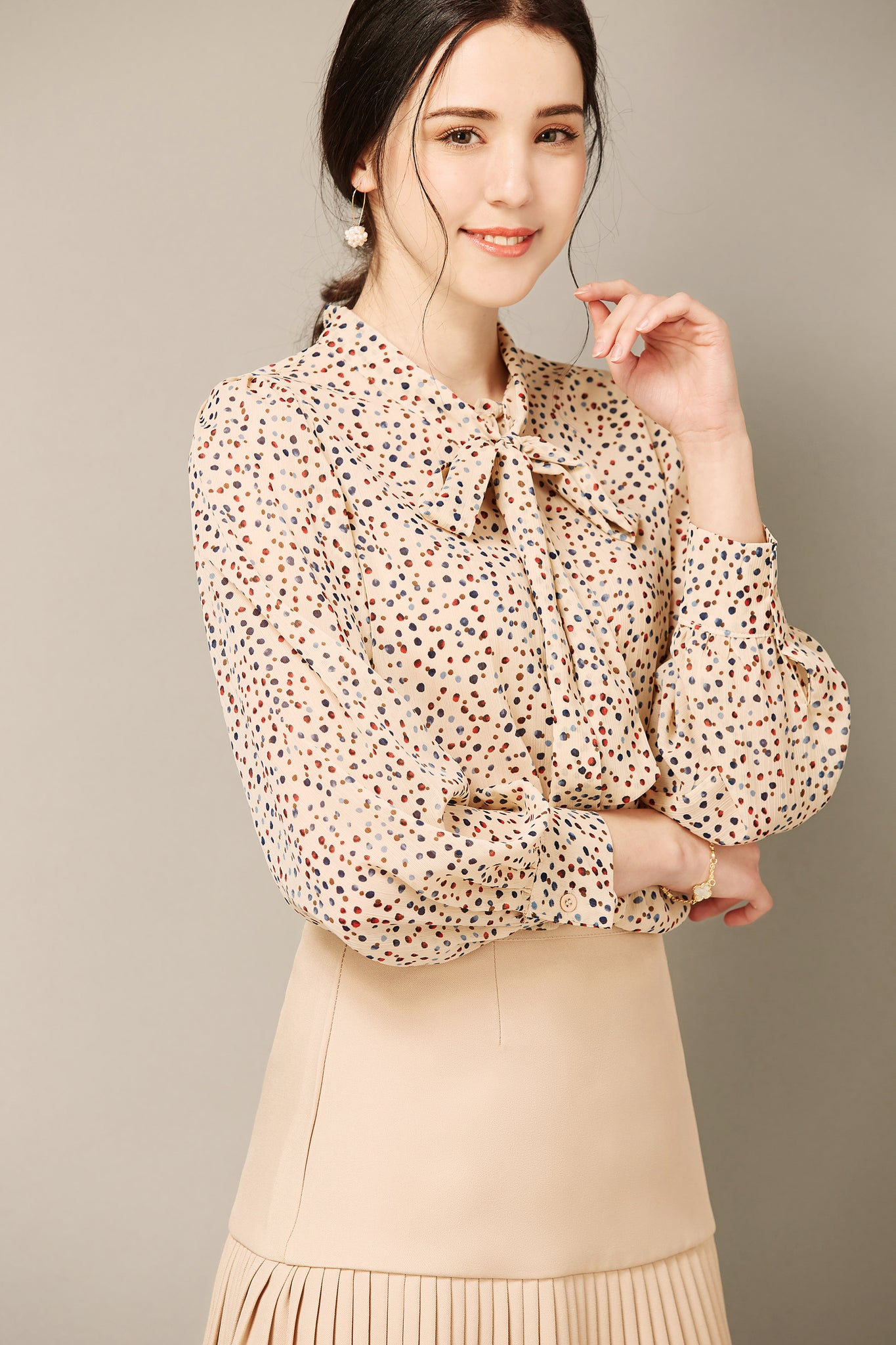 Beige Polka Dot Top
