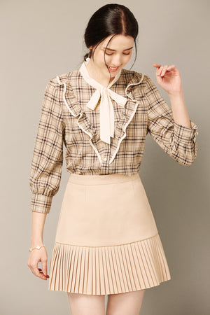 Beige Plaid Ruffle-Front Top