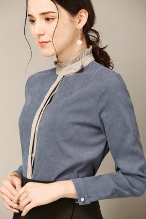 Blue-Grey Blouse With Tan Ruffled Collar