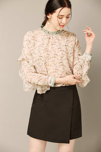 Floral Cream Ruffle Top