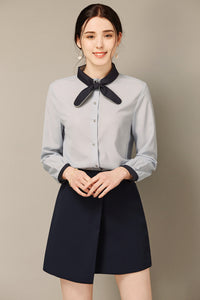 Blue Button Up Blouse With Tie At Neck
