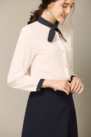White Button Up Blouse With Tie At Neck