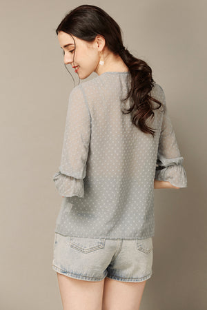 Blue Grey Blouse with Lace Neckline
