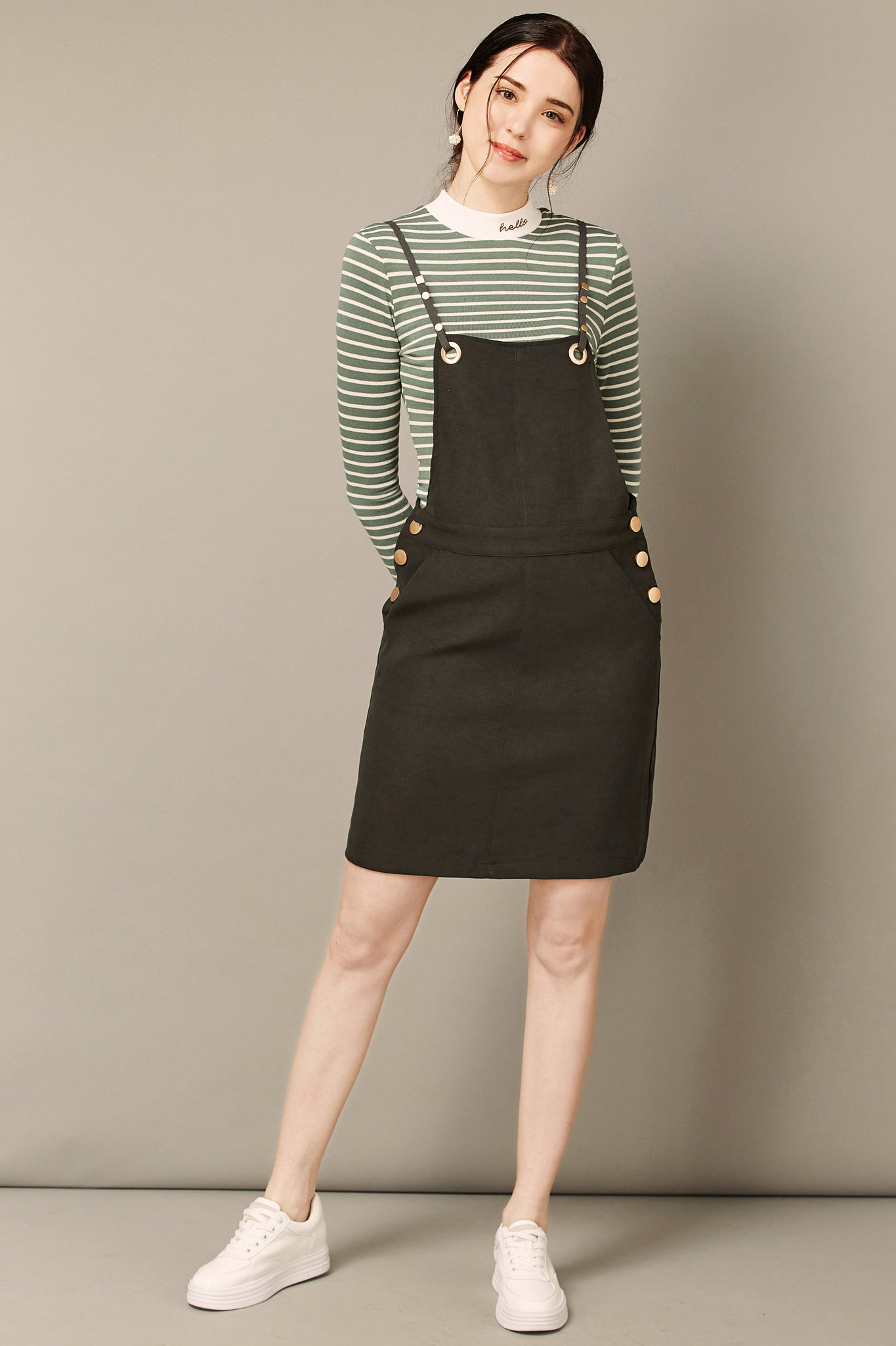 Dark Green Jumper Dress With Stripe Blouse