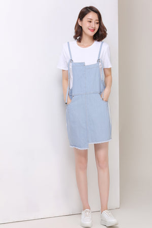 Denim Overall Dress With White Shirt