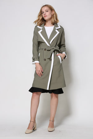 Sage Trench Coat With White Trim