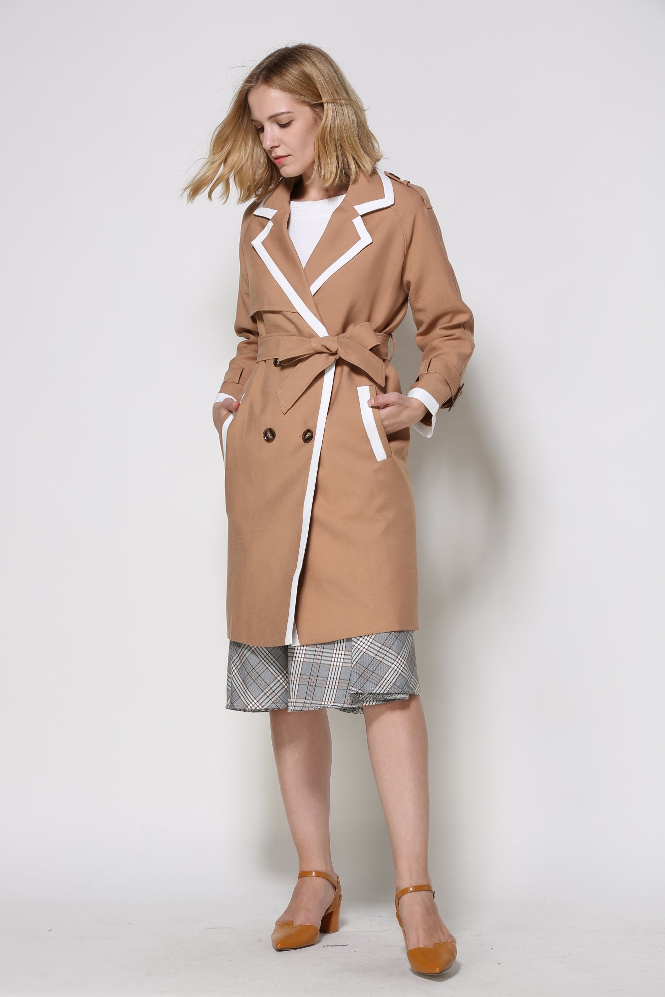 Tangerine Trench Coat With White Trim