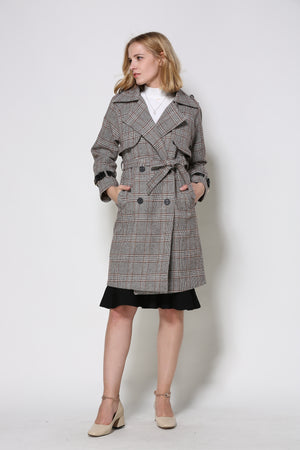 Checked Double-Breasted Trench Coat