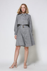 Grey Checked Shirt Dress