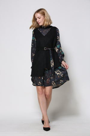 Navy Floral Dress With Asymmetrical Black Vest