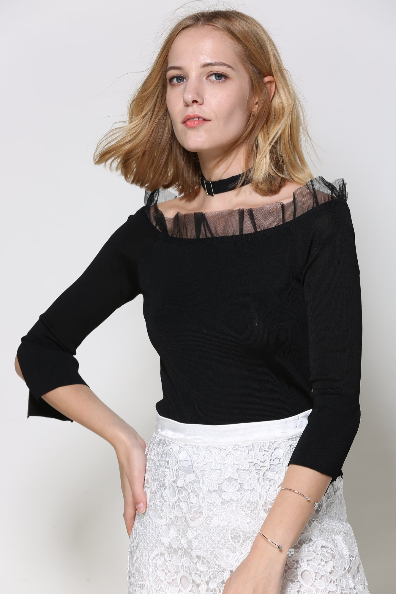 Knit Shirt With Tulle Ruffle At Neck