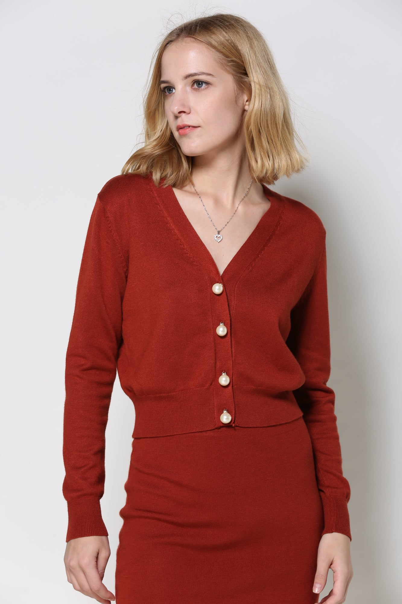 Burnt Red Knit Cardigan with Pencil Skirt