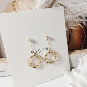 Crystal Shining Round Earrings