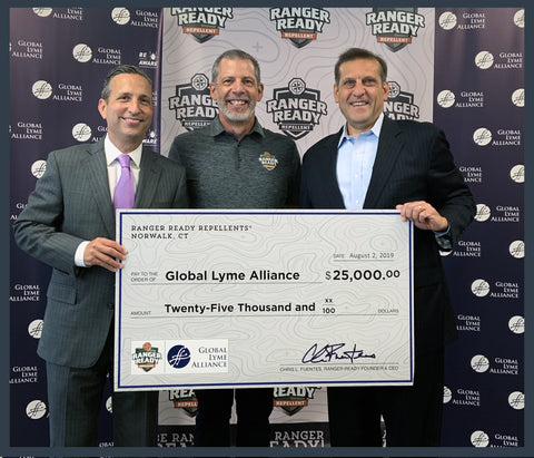 ranger ready picaridin insect repellent presents check to Global Lyme Alliance with Connecticut senator, Bob Duff