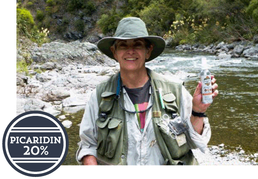 woman fishing holding up a ranger ready bottle