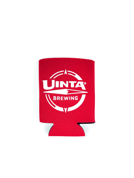 Red Neoprene Beer Koozie with Compass logo