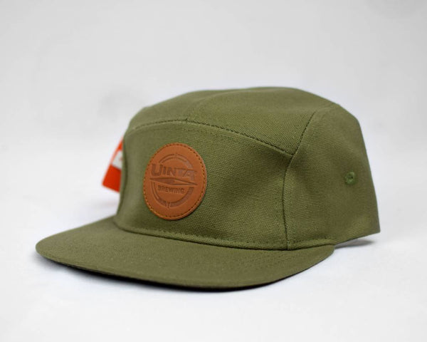 Olive Green 5 Panel Flat Brim Hat