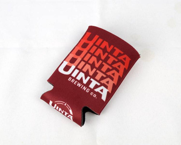Maroon Neoprene Beer Koozie with Stacked logo