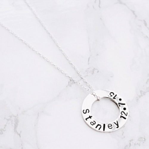 Personalised Sterling Silver Washer Necklace