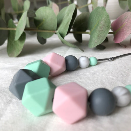 Necklace teether - pink and mint