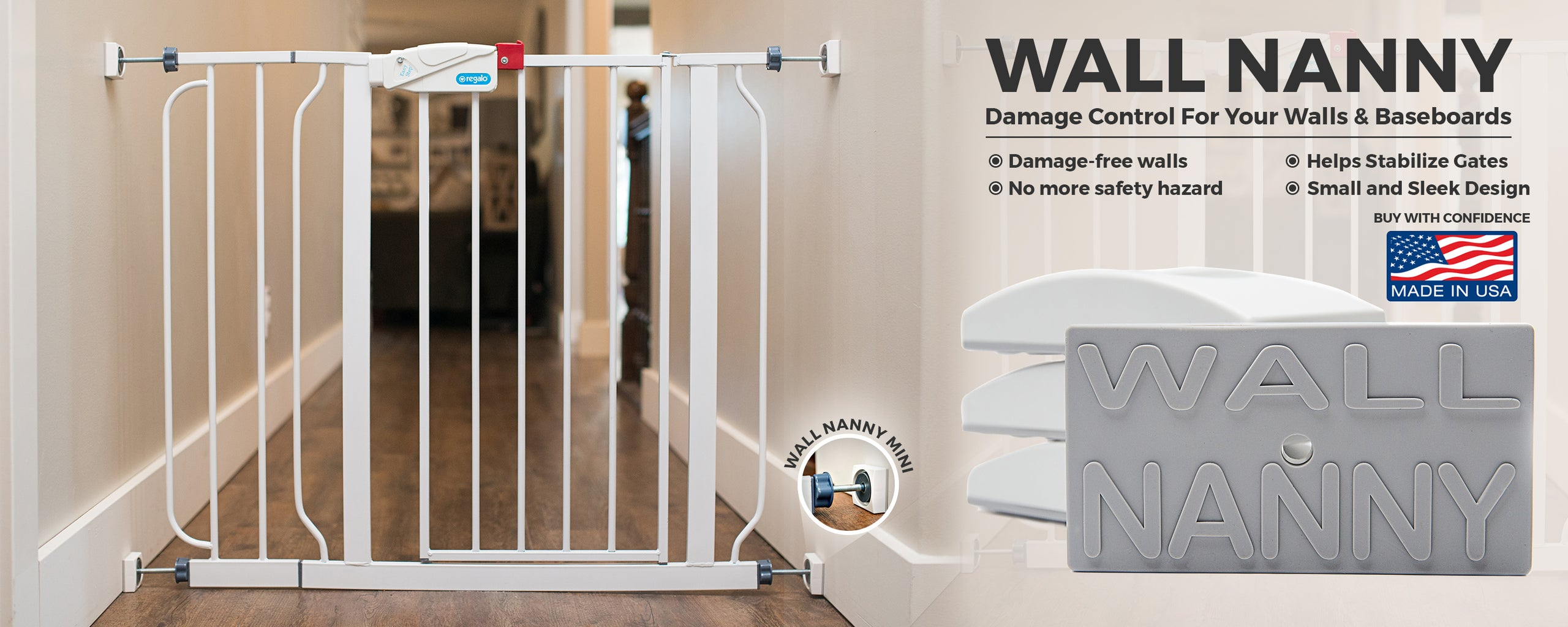 Baby Gate Wall Protector Wall Nanny Protects Stabilizes Gates